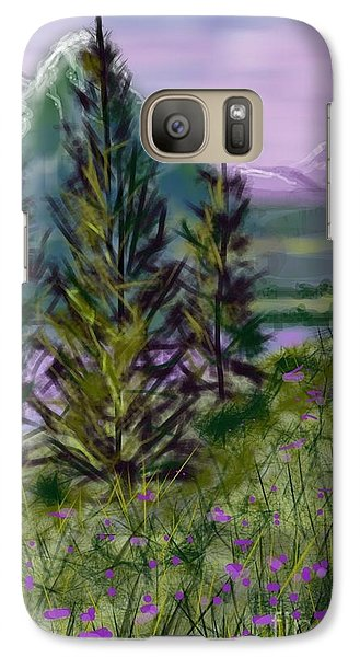 Galaxy Case featuring the painting ptg.  Mountain Meadow Pond by Judy Via-Wolff