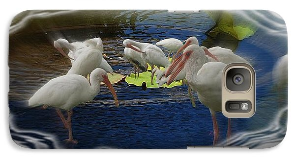 Galaxy Case featuring the photograph Puddle Of Ibis by Irma BACKELANT GALLERIES