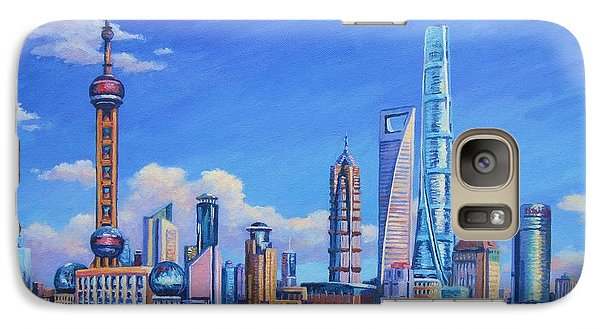 Pudong Skyline  Shanghai Galaxy S7 Case by John Clark