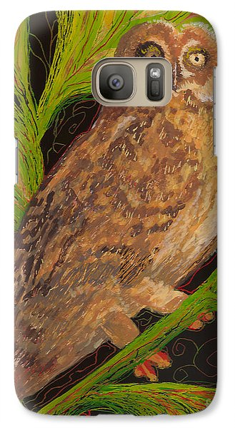 Galaxy Case featuring the painting Pueo by Anna Skaradzinska
