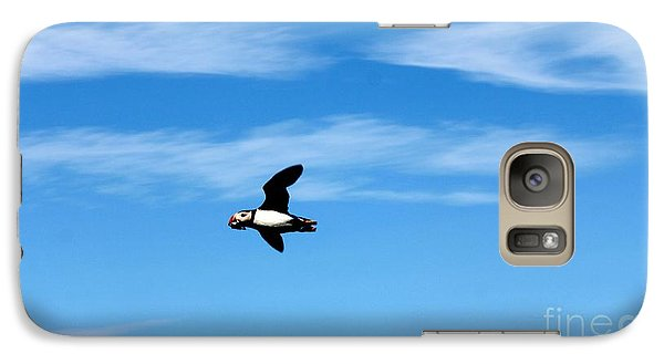 Galaxy Case featuring the photograph Puffin In Flight by David Grant