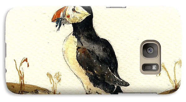 Puffin Galaxy S7 Case - Puffin With Fishes by Juan  Bosco