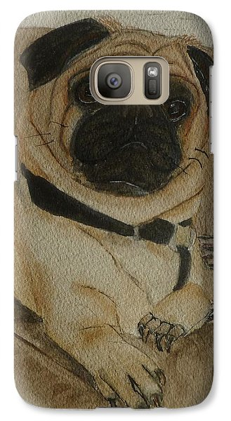 Galaxy Case featuring the painting Pug Dog All Ready To Cuddle by Kelly Mills