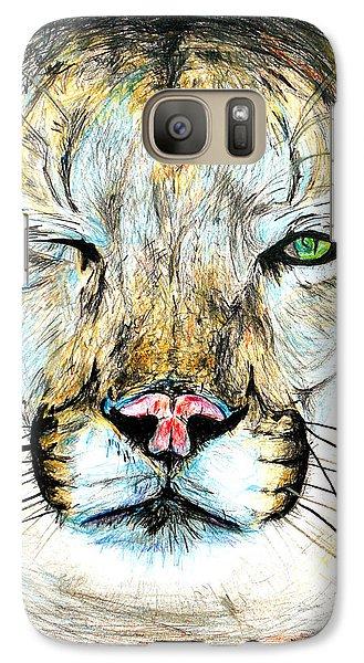 Galaxy Case featuring the drawing Puma Winking Eye by Daniel Janda