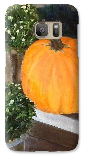 Galaxy Case featuring the painting Pumpkin On Doorstep by Cindy Plutnicki