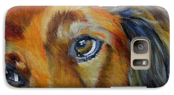 Galaxy Case featuring the painting Puppy Dog Eyes by Chris Brandley