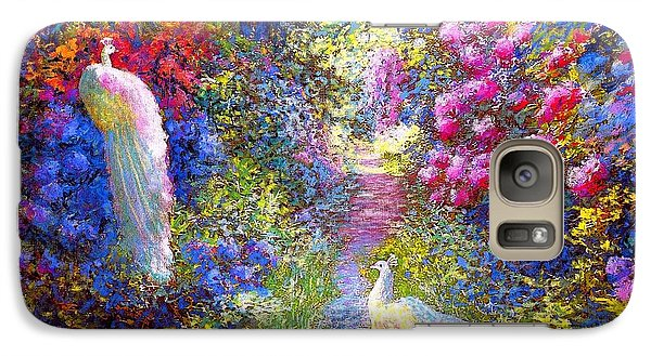 Wildlife Galaxy S7 Case -  White Peacocks, Pure Bliss by Jane Small