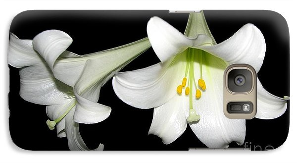 Galaxy Case featuring the photograph Pure White Easter Lilies by Rose Santuci-Sofranko