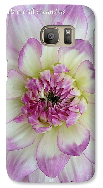 Galaxy Case featuring the photograph Purple And Cream Dahlia by Jeannie Rhode