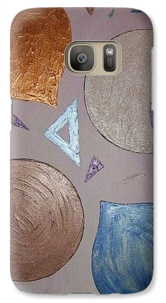 Galaxy Case featuring the painting Purple And Metallic Shapes by Barbara Yearty