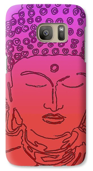 Galaxy Case featuring the digital art Purple And Red Buddha by Christine Perry