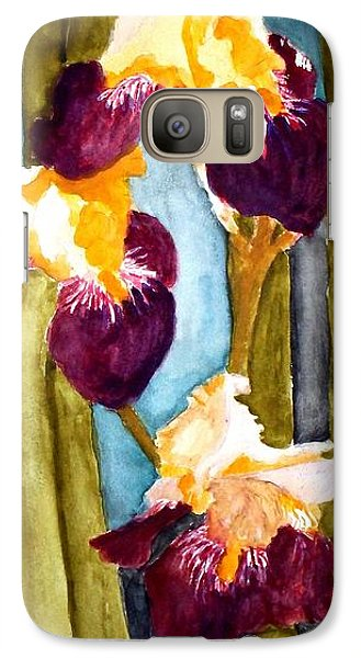 Galaxy Case featuring the painting Purple And Yellow Iris by Carol Grimes