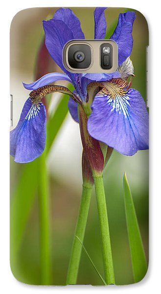 Galaxy Case featuring the photograph Purple Bearded Iris by Brenda Jacobs