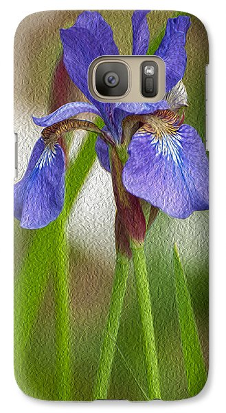 Galaxy Case featuring the photograph Purple Bearded Iris Oil by Brenda Jacobs