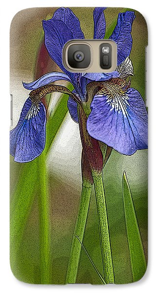 Galaxy Case featuring the photograph Purple Bearded Iris Watercolor With Pen by Brenda Jacobs