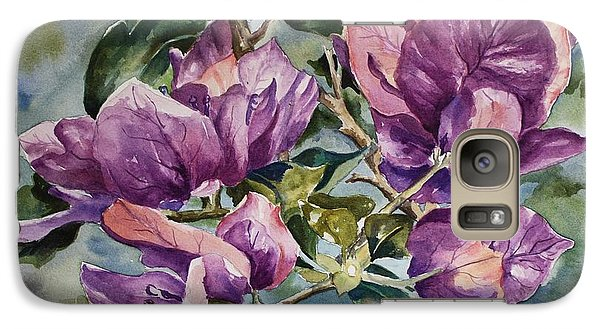 Galaxy Case featuring the painting Purple Beauties - Bougainvillea by Roxanne Tobaison