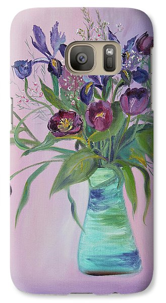 Galaxy Case featuring the painting Purple Belle Bouquet  Tulips And Irises by Asha Carolyn Young