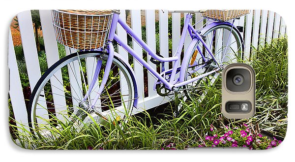 Bicycle Galaxy S7 Case - Purple Bicycle And Flowers by David Smith