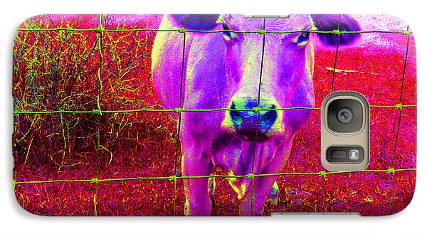Galaxy Case featuring the photograph Purple Cow by Patricia Januszkiewicz