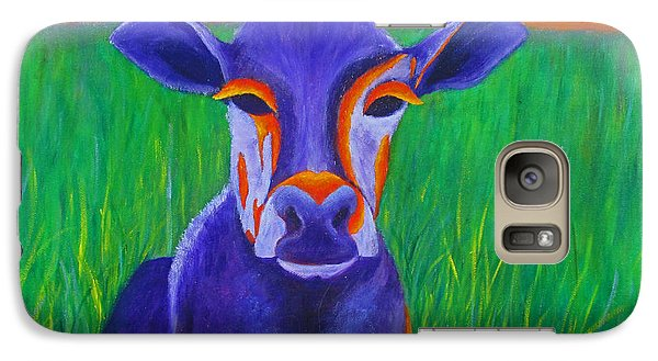 Galaxy Case featuring the painting Purple Cow by Roseann Gilmore