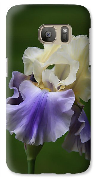Galaxy Case featuring the photograph Purple Cream Bearded Iris by Patti Deters