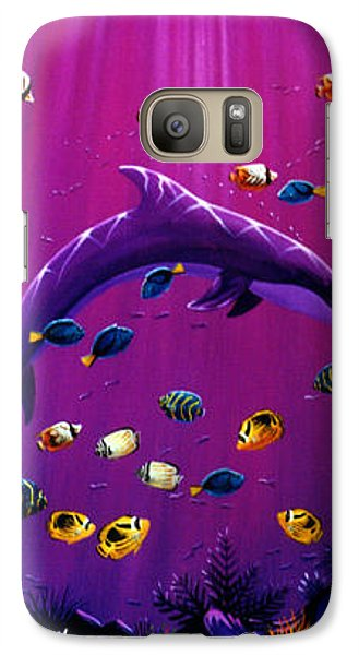 Galaxy Case featuring the painting Purple Dolpins by Lance Headlee