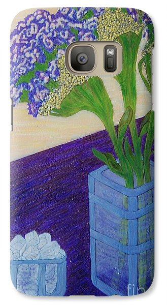 Galaxy Case featuring the painting Purple Flowers And Ice by Jasna Gopic