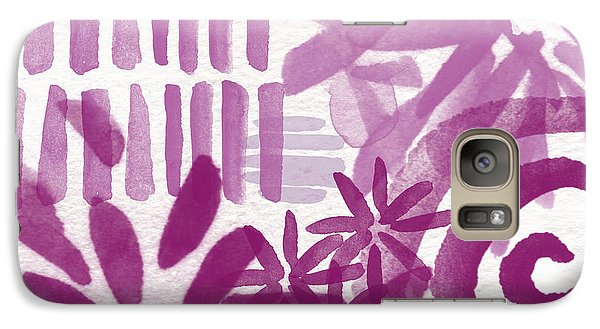 Orchid Galaxy S7 Case - Purple Garden - Contemporary Abstract Watercolor Painting by Linda Woods