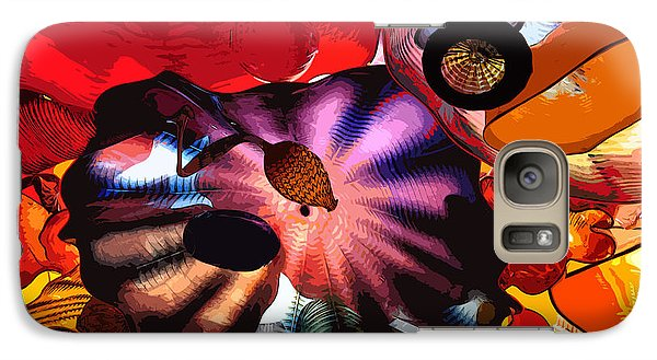 Galaxy Case featuring the digital art Purple Glass In Sea Of Red by Kirt Tisdale