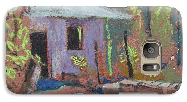 Galaxy Case featuring the painting Purple House by Linda Novick