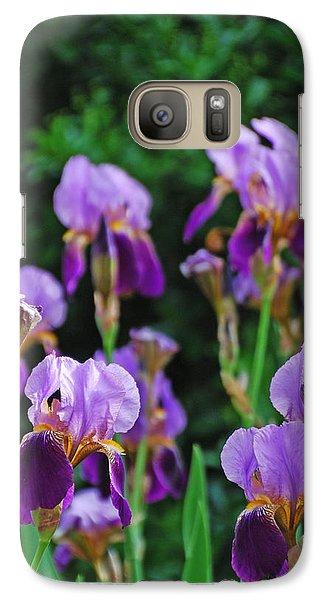 Galaxy Case featuring the photograph Purple Iris Bliss by Ankya Klay