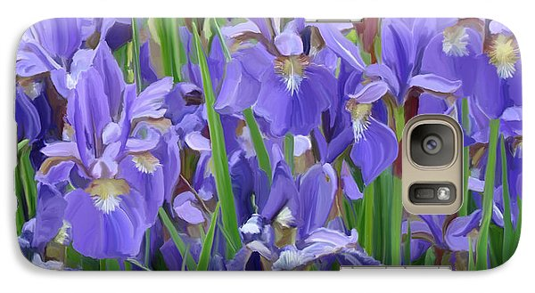 Galaxy Case featuring the painting Purple Iris Garden by Tim Gilliland