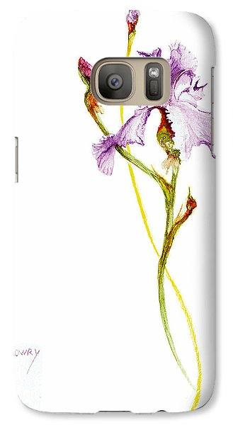 Galaxy Case featuring the painting Purple Iris by Rachel Lowry