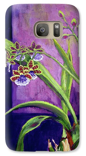 Galaxy Case featuring the painting Purple Orchids by Nancy Jolley