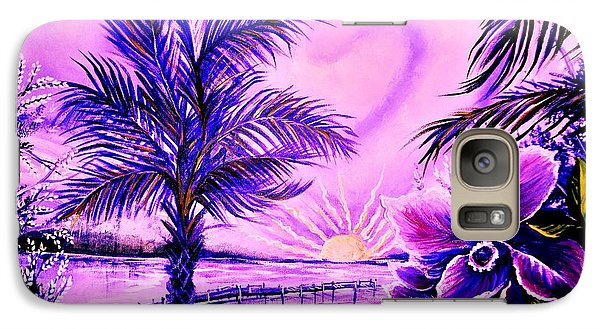 Galaxy Case featuring the painting Purple Palm by Yolanda Rodriguez