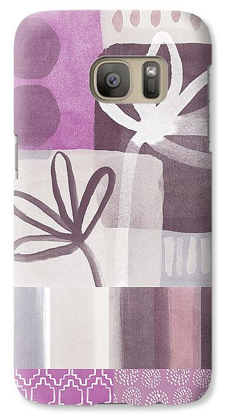 Orchid Galaxy S7 Case - Purple Patchwork- Contemporary Art by Linda Woods