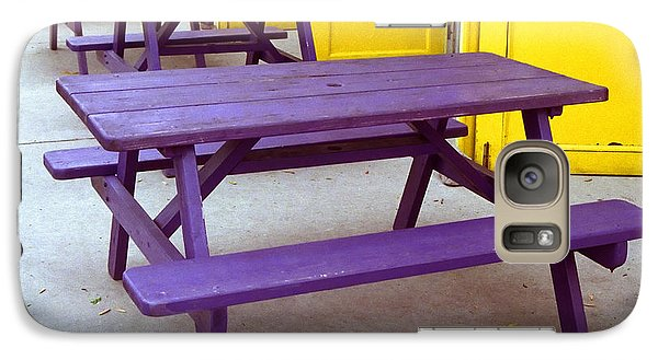 Galaxy Case featuring the photograph Purple Picnic Tables Yellow Doors by Tom Brickhouse