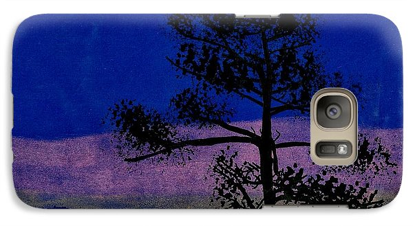 Galaxy Case featuring the drawing Purple Sunset Bay by D Hackett
