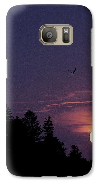 Galaxy Case featuring the photograph Purple Sunset With Sea Gull by Peter v Quenter