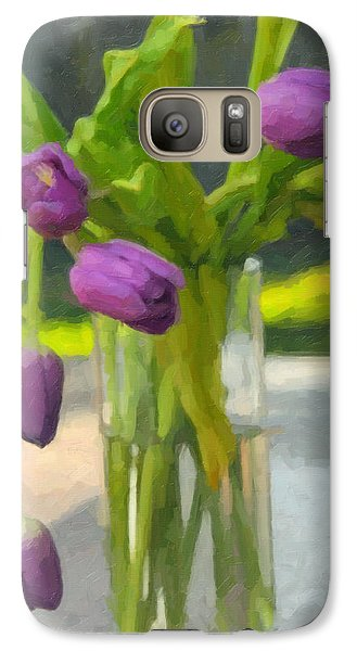 Galaxy Case featuring the photograph Purple Tulips by Kenny Francis