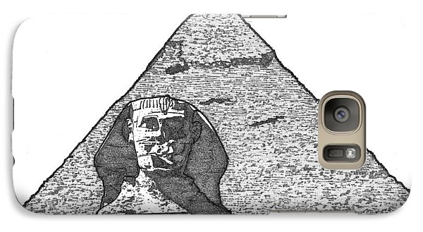 Galaxy Case featuring the drawing Pyramid And Sphinx by Calvin Durham