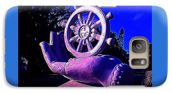 Galaxy Case featuring the photograph Buddhist Dharma Wheel 2 by Peter Gumaer Ogden