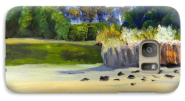 Galaxy Case featuring the painting Quiet Sand By The Creek by Pamela  Meredith
