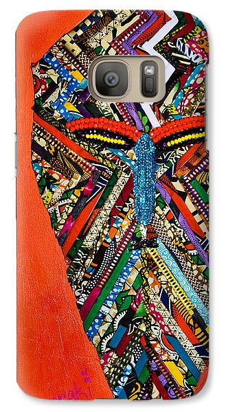 Galaxy Case featuring the tapestry - textile Quilted Warrior by Apanaki Temitayo M