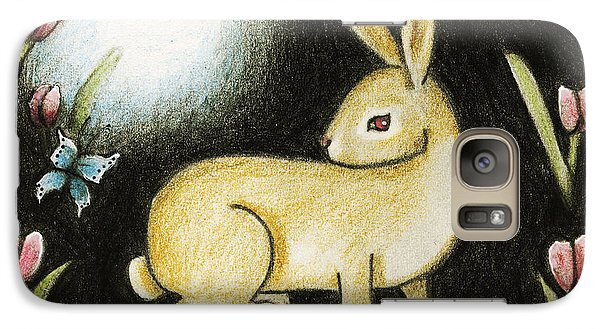 Galaxy Case featuring the mixed media Rabbit And The Butterfly . . . From The Tapestry Series by Terry Webb Harshman