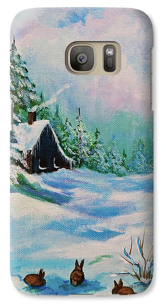 Galaxy Case featuring the painting Rabbits Waiting For Spring by Bob and Nadine Johnston
