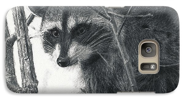 Galaxy Case featuring the drawing Raccoon - Charcoal Experiment by Joshua Martin