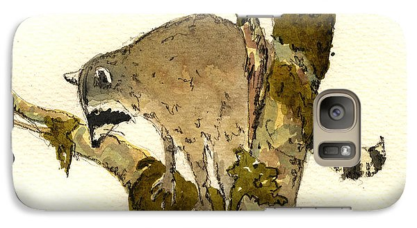 Raccoon On A Tree Galaxy Case by Juan  Bosco