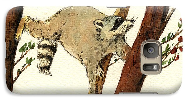 Raccoon On Tree Galaxy Case by Juan  Bosco