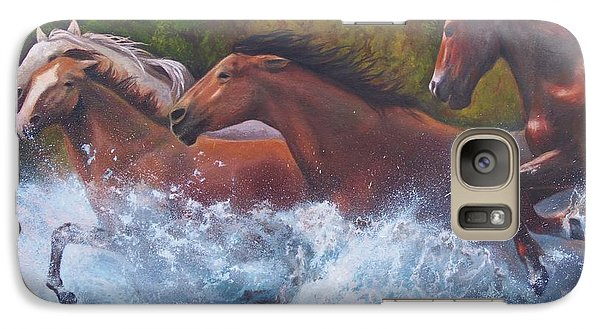 Galaxy Case featuring the painting Race For Freedom by Karen Kennedy Chatham